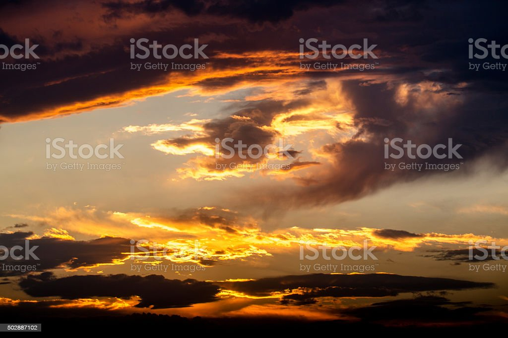 sunset glow and cloudscape stock photo