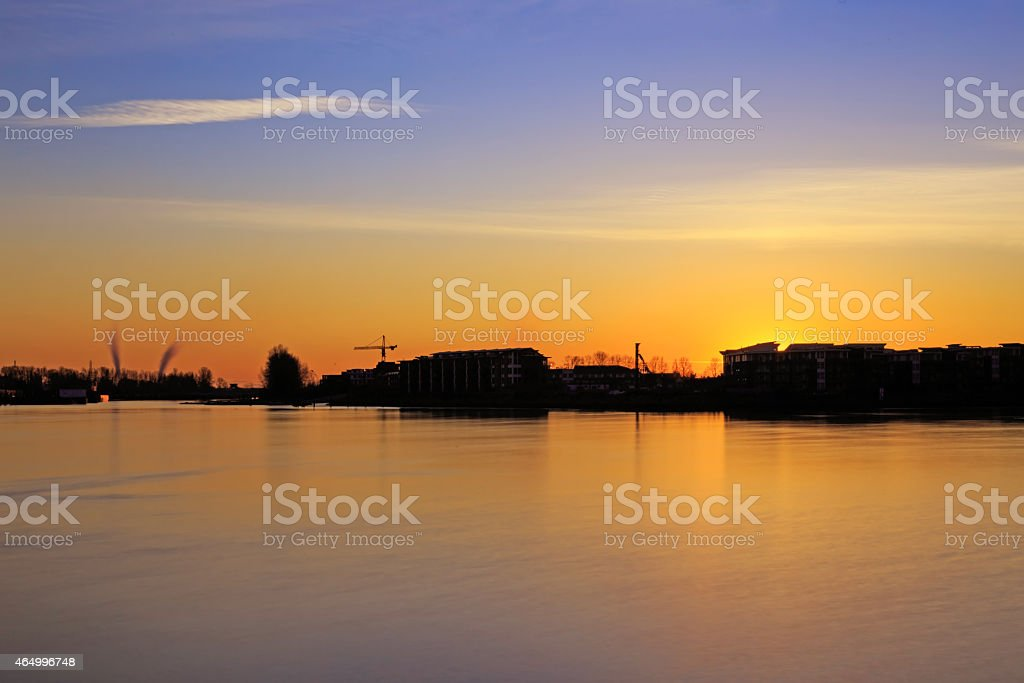 Sunset glow at a rive stock photo