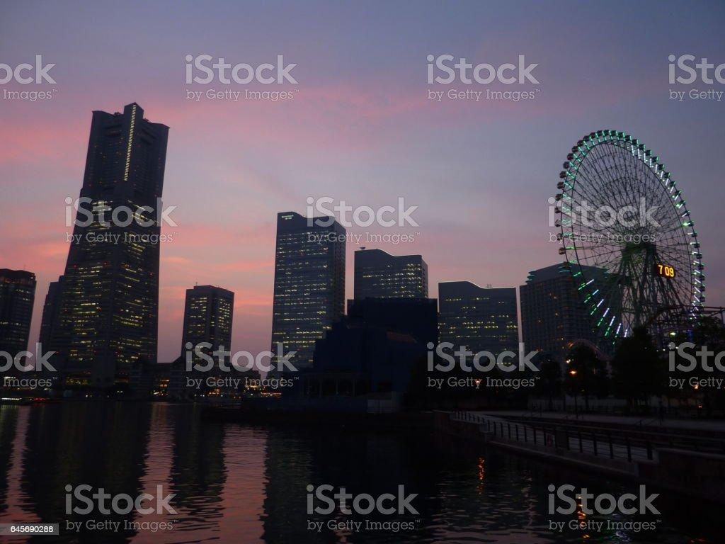Sunset Glow in Yokohama stock photo