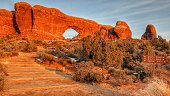 Sunset Glow, North South Window, Red Rock Staircase, Arches , Utah