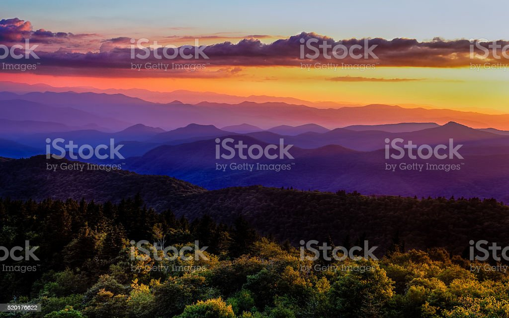 Sunset glow on Blue Ridge Parkway stock photo