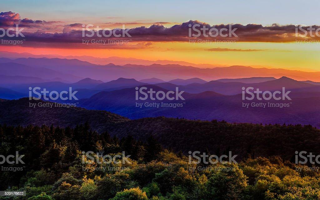 Sunset glow on Blue Ridge Parkway stock photo
