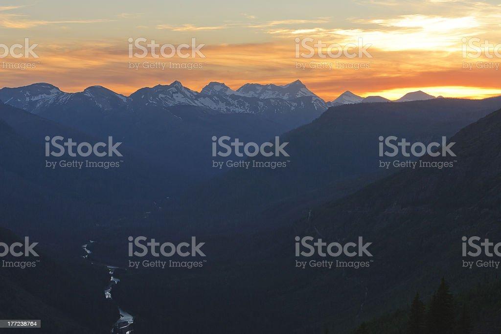 Sunset Going to Sun Road stock photo