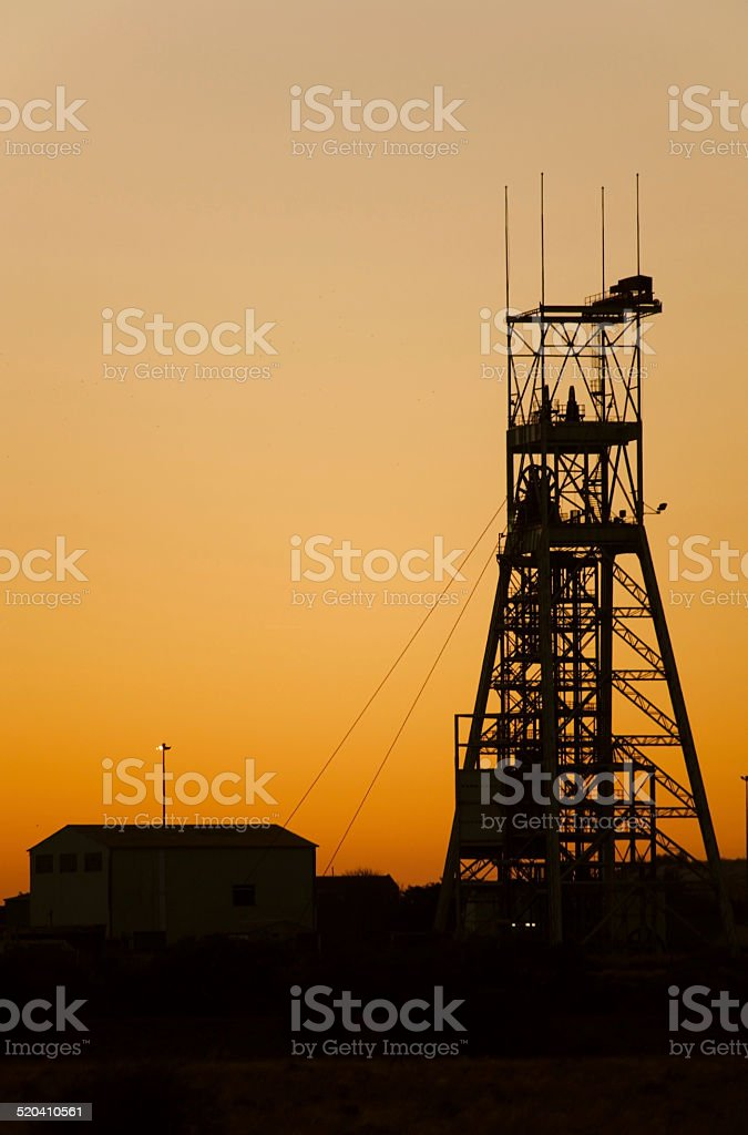 Sunset Gold platinum mine head gear in Johannesburg South Africa stock photo