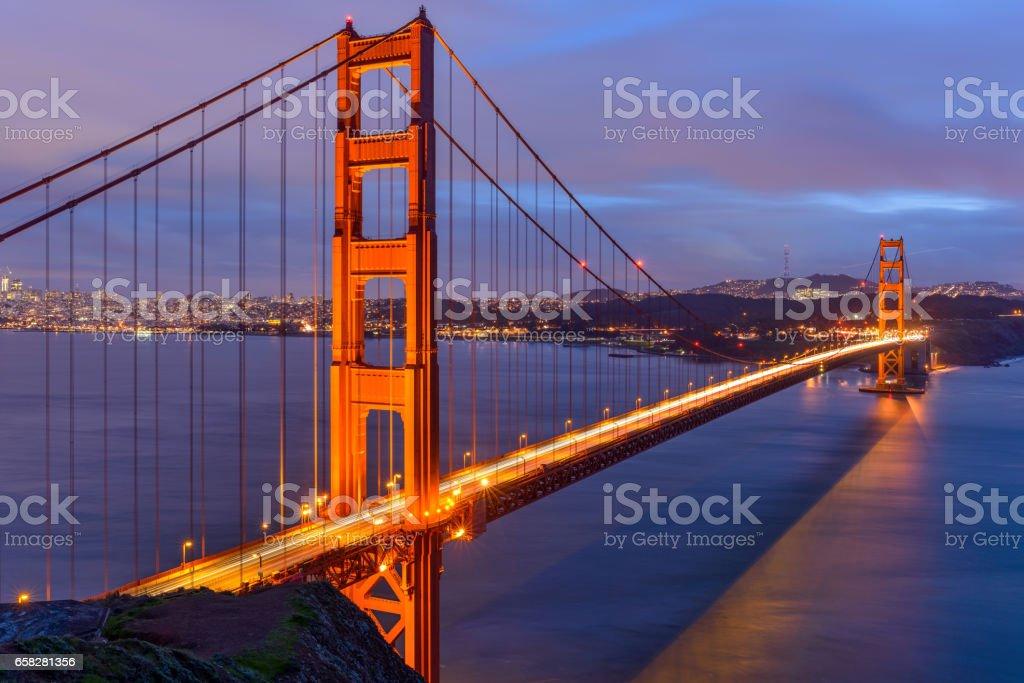 Sunset Golden Gate Bridge stock photo
