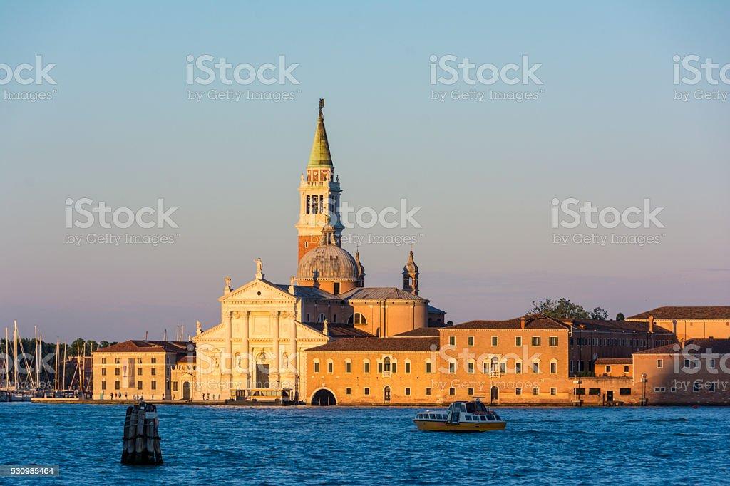 Sunset golden hour view of San Giorgio Maggiore Church in stock photo