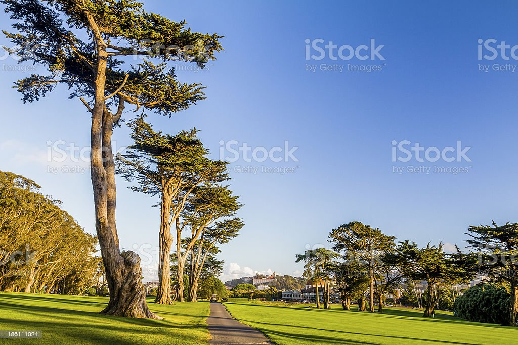 Sunset golf course royalty-free stock photo
