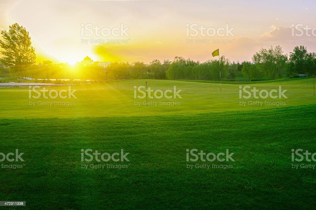 Sunset Golf Course stock photo
