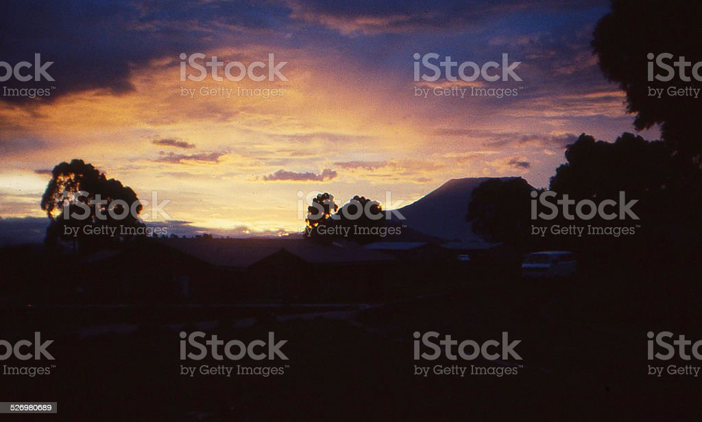 Sunset Great Western Rift Valley Nyiragongo Volcano Zaire Congo Africa stock photo
