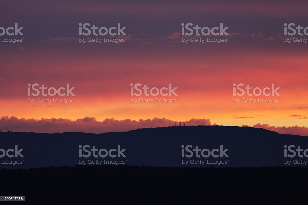 Sunset Haze Sky Ridgeline Silhouette Landscape stock photo