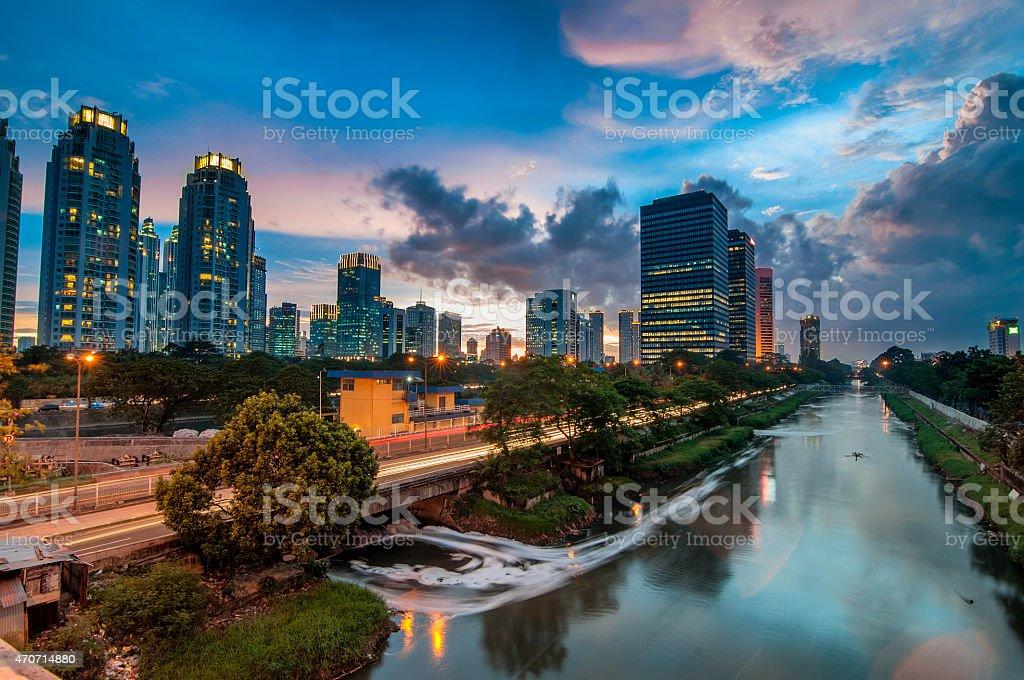 Sunset HDR at Jakarta City stock photo