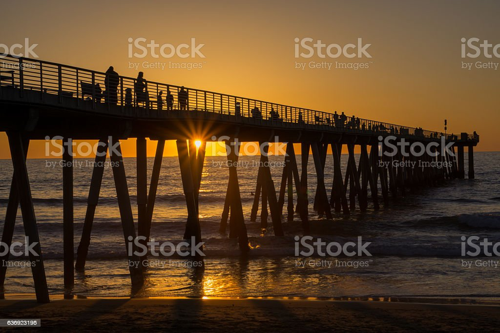 Sunset, Hermosa Beach Pier stock photo