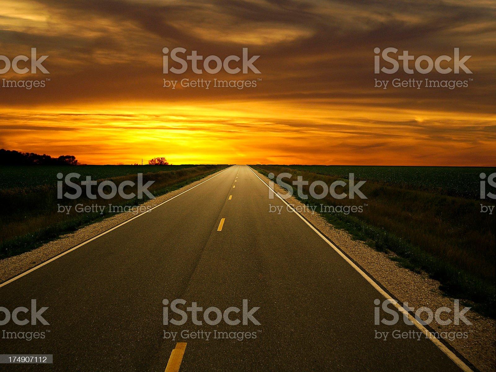 Sunset Highway Horizon royalty-free stock photo
