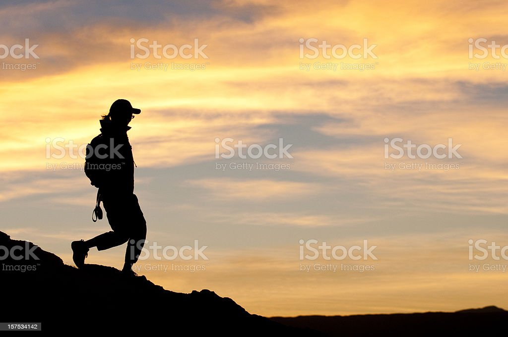 Sunset Hiker royalty-free stock photo