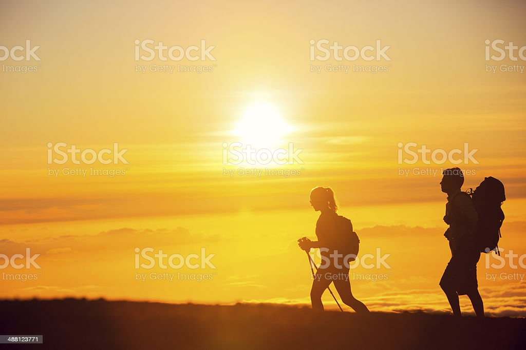 Sunset Hikers royalty-free stock photo