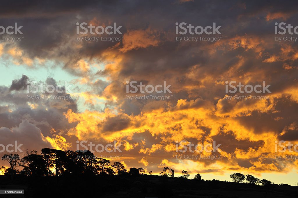 Sunset hill stock photo