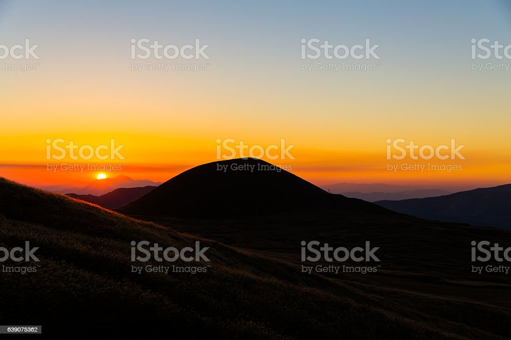 Sunset hill stock photo