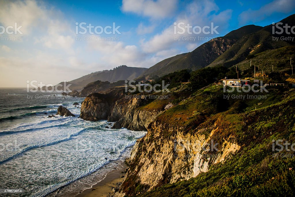 Sunset hits cliffs in Big Sur stock photo