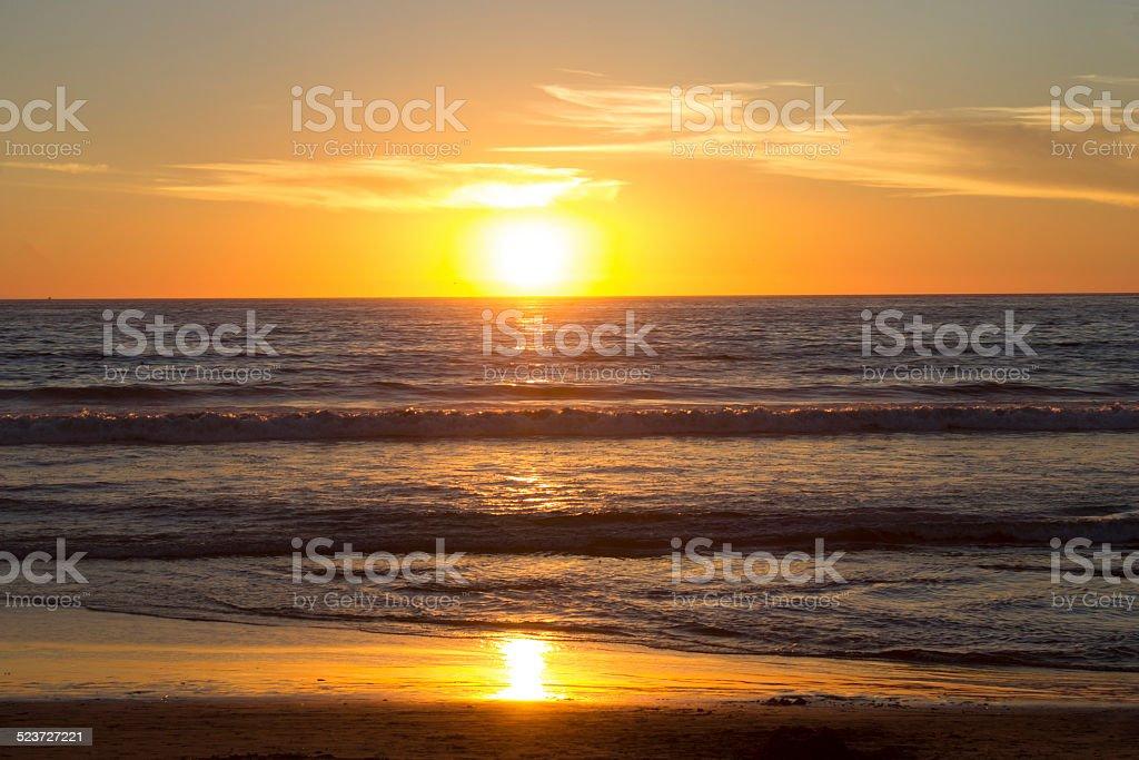 Sunset Horizon with Reflections stock photo