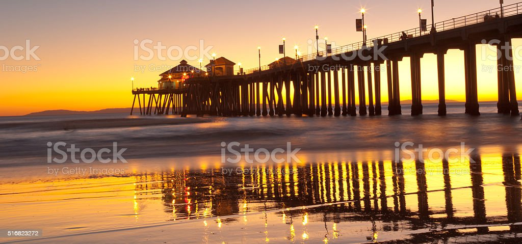 Sunset Huntington Beach stock photo