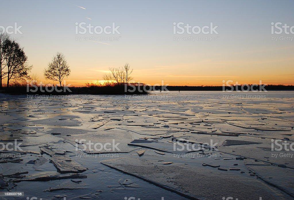 Sunset Ice Floe stock photo