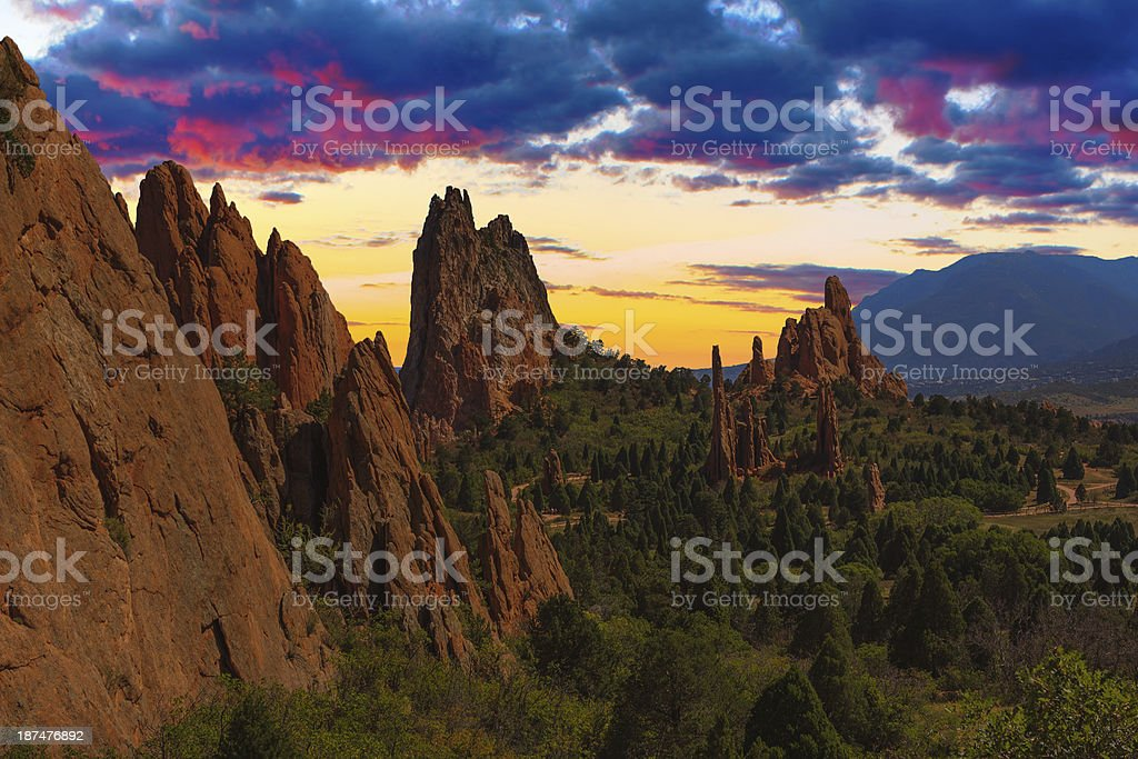 Sunset Image from the Garden of Gods. stock photo