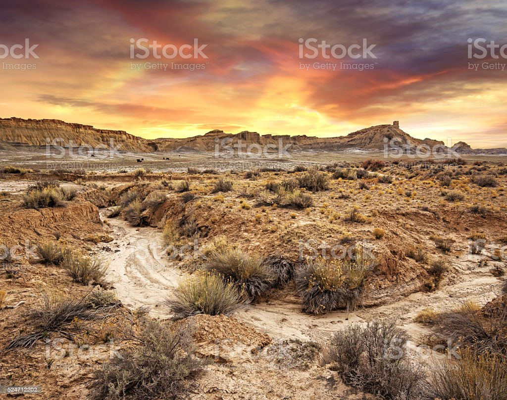 sunset in a desolate landscape, Utah stock photo