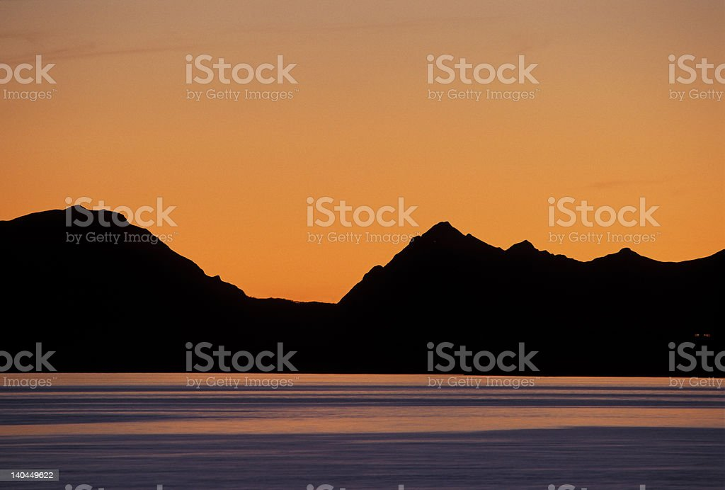 sunset in a fjord royalty-free stock photo