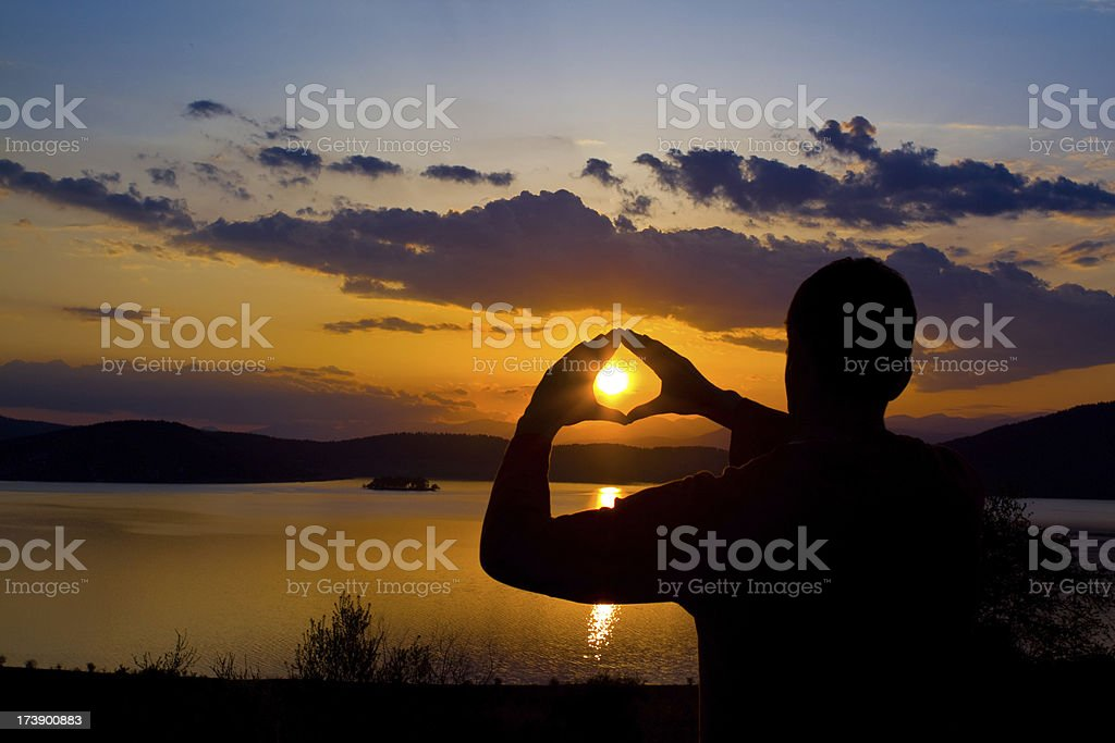 Sunset In A Hand royalty-free stock photo