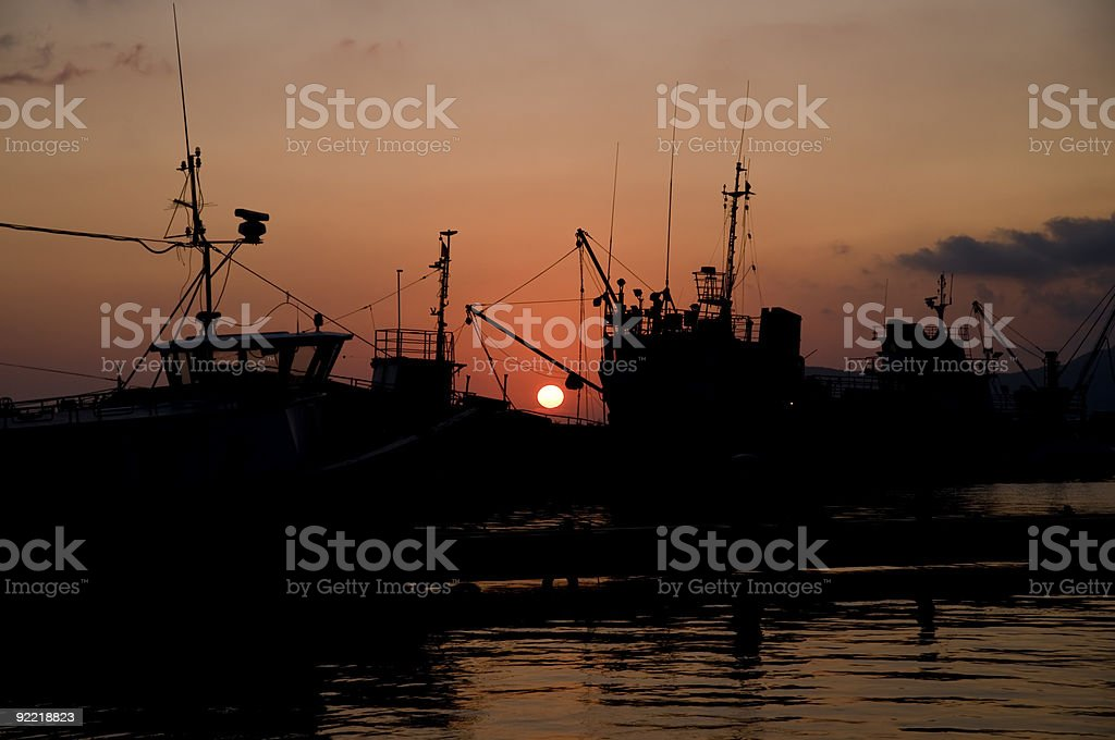 Sunset in a harbur royalty-free stock photo