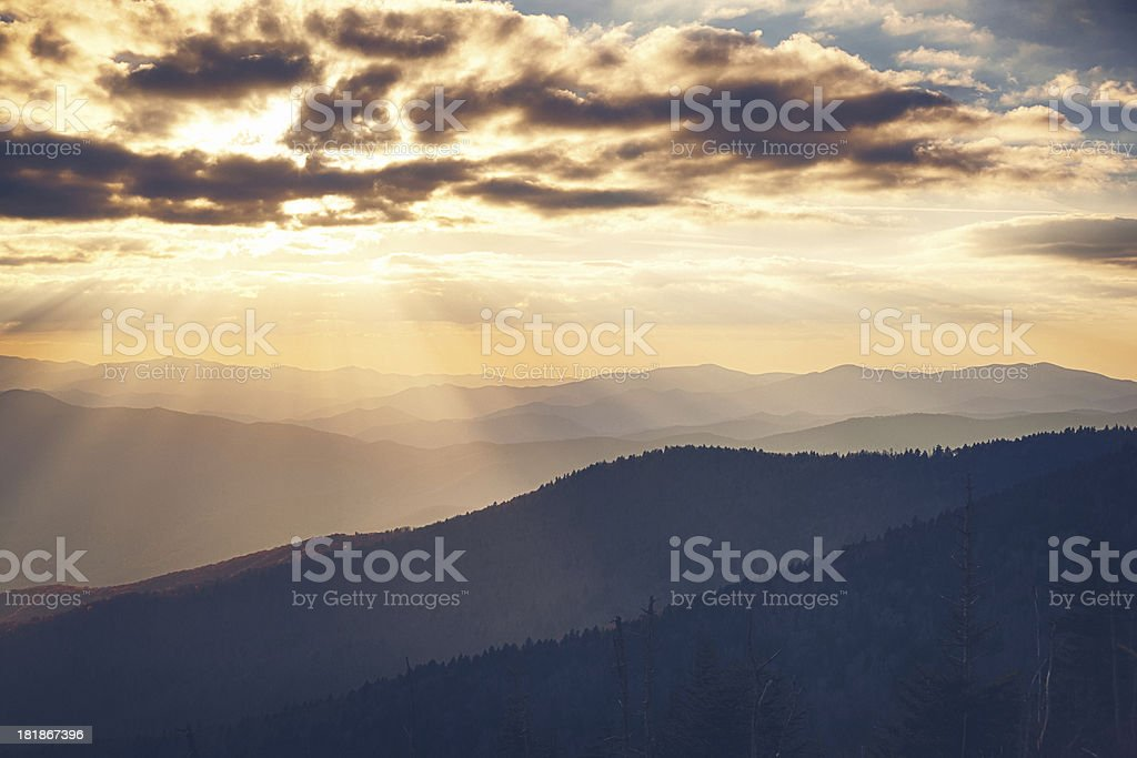Sunset in a Mountain Landscape royalty-free stock photo