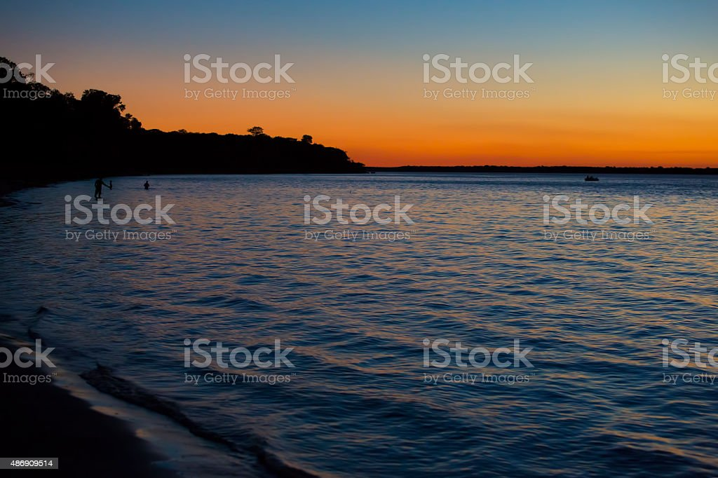 Sunset in a river stock photo