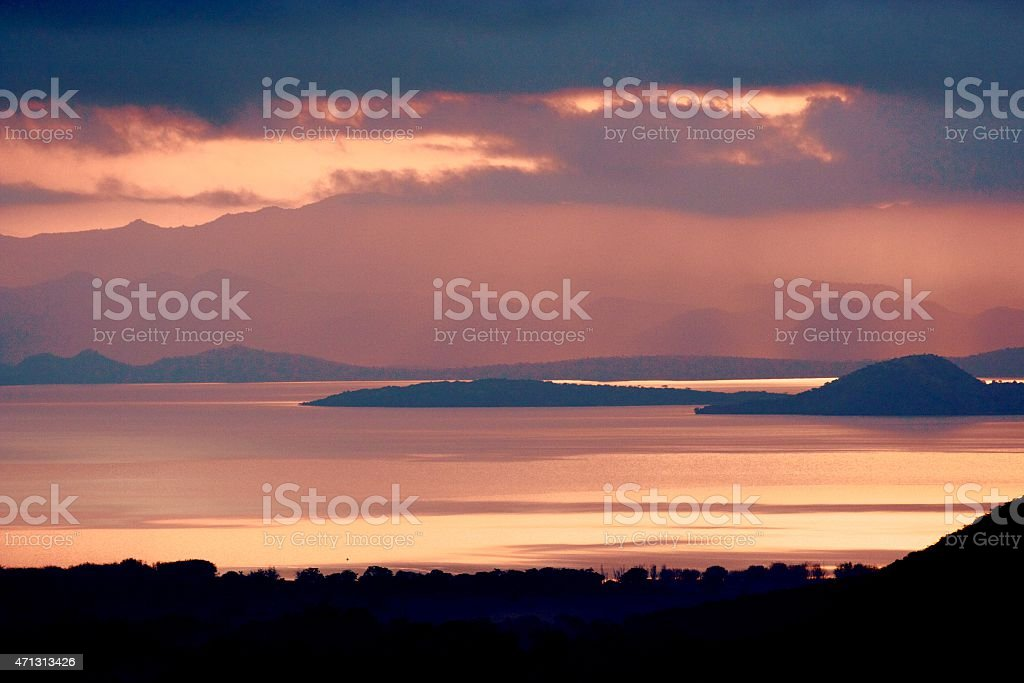 Sunset in Abaya Lake, Arba Minch, Ethiopia stock photo