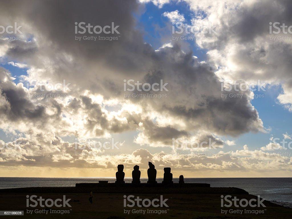Sunset in Ahu Tahai stock photo