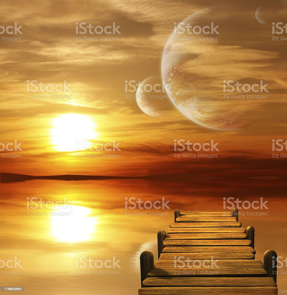 Sunset in alien planet royalty-free stock photo