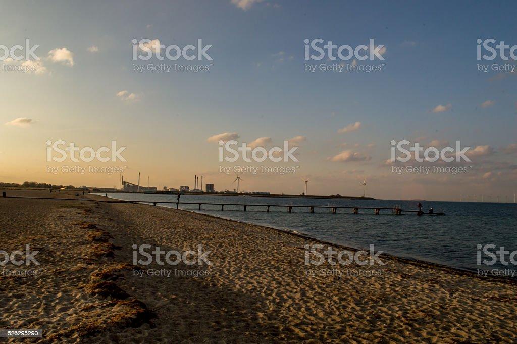 Sunset in Amager Strandpark, Copenhagen stock photo