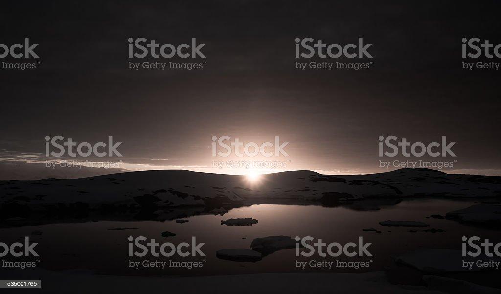 sunset in Antarctica stock photo