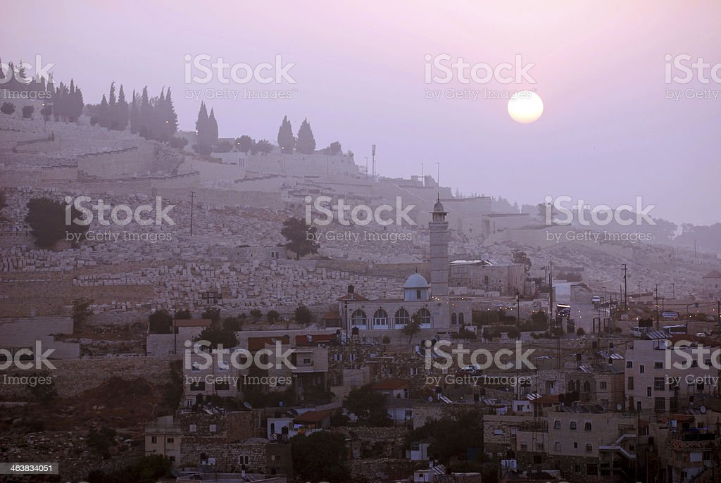 Sunset in apartment buildings of Silwan, East Jerusalem stock photo