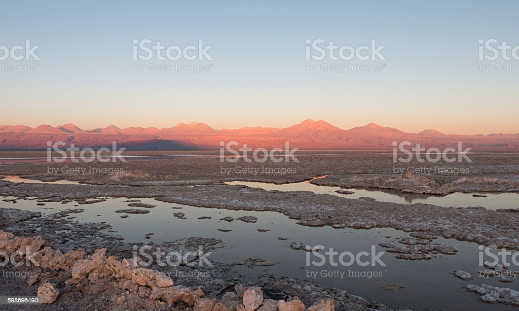 Sunset in Atacama Salar, Chile stock photo