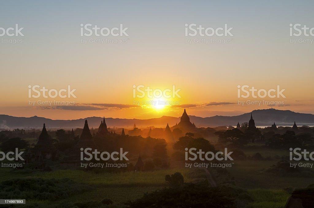 Sunset in Bagan, Myanmar stock photo