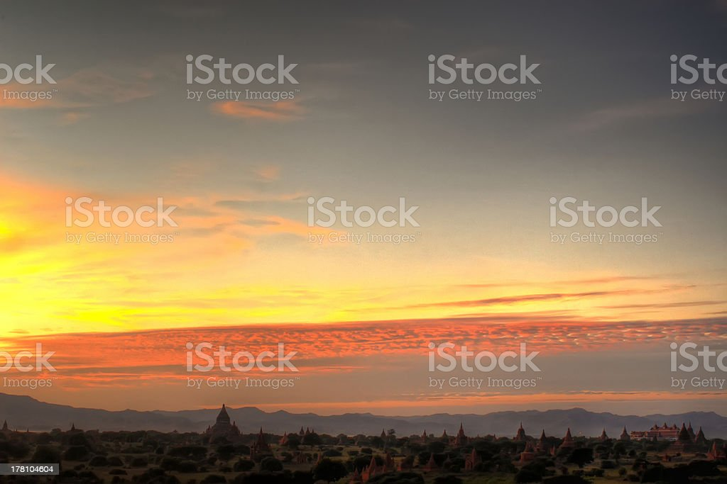 Sunset in Bagan. royalty-free stock photo