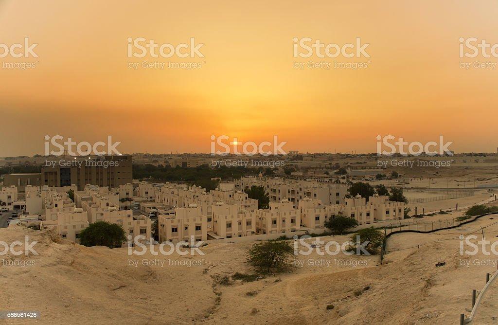 sunset in bahrain stock photo