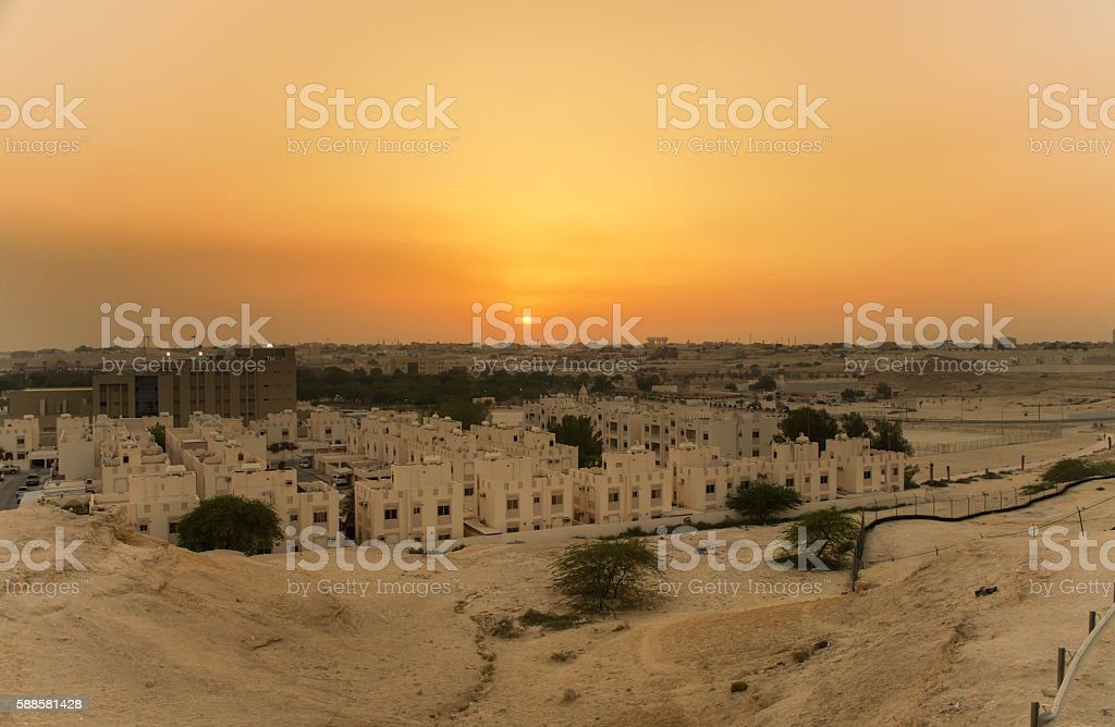 sunset in bahrain stock photo