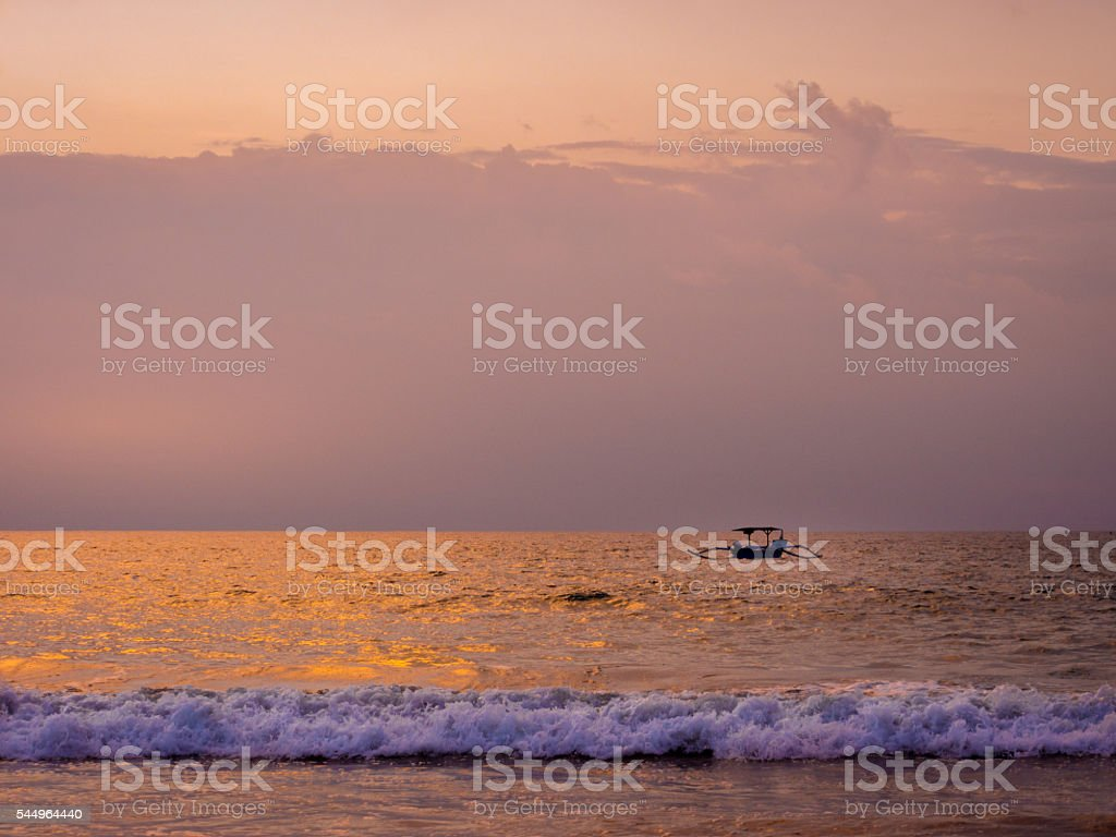 Sunset in Bali Beach, Indonesia stock photo