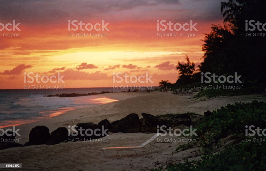 Sunset in Barbados royalty-free stock photo