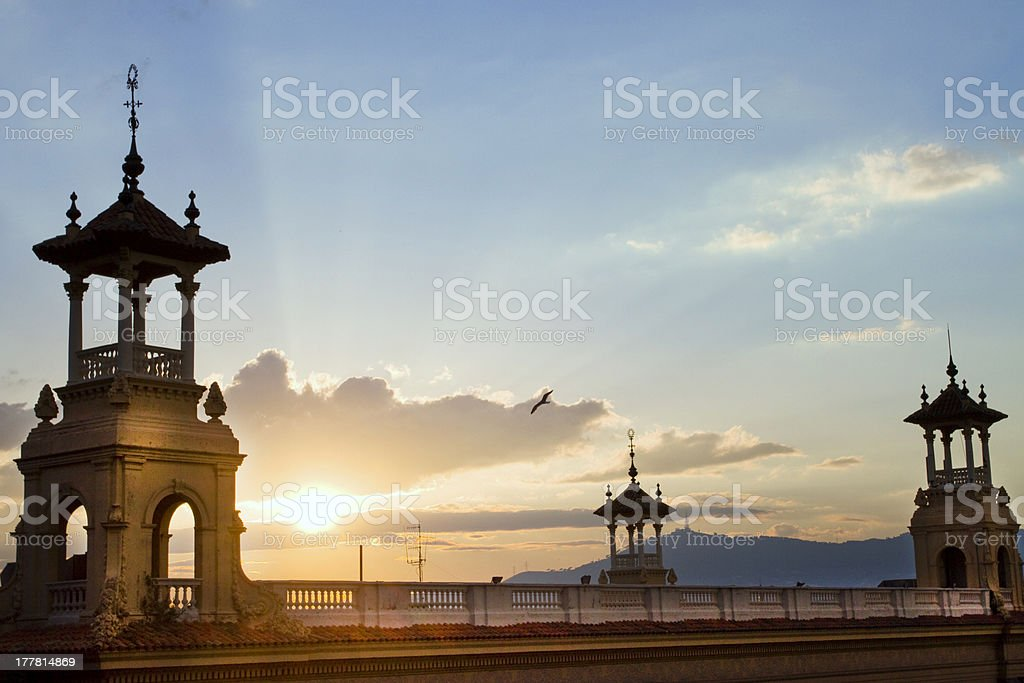 Sunset in Barcellona royalty-free stock photo