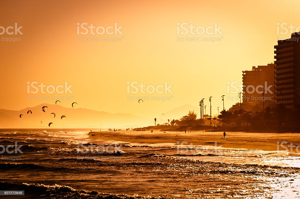 Sunset in Barra da Tijuca Beach stock photo