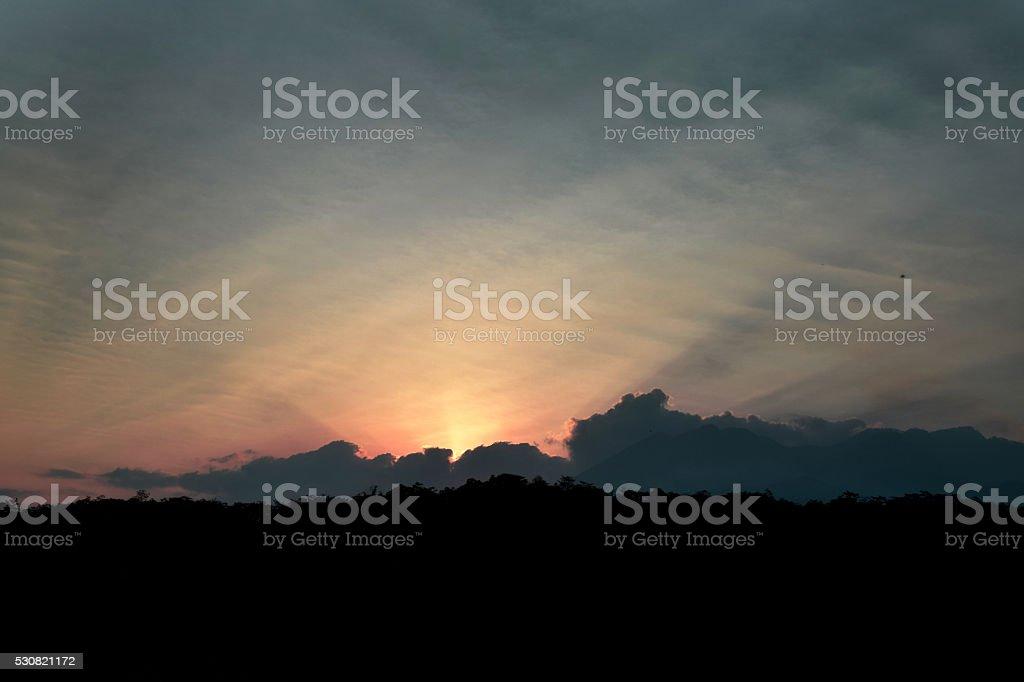 Sunset in Batu stock photo