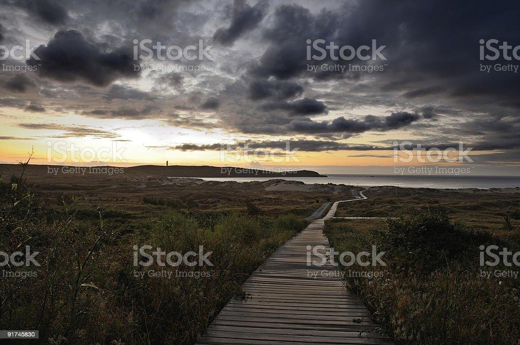 Sunset in Beach of Valdovi?o (Galicia) royalty-free stock photo