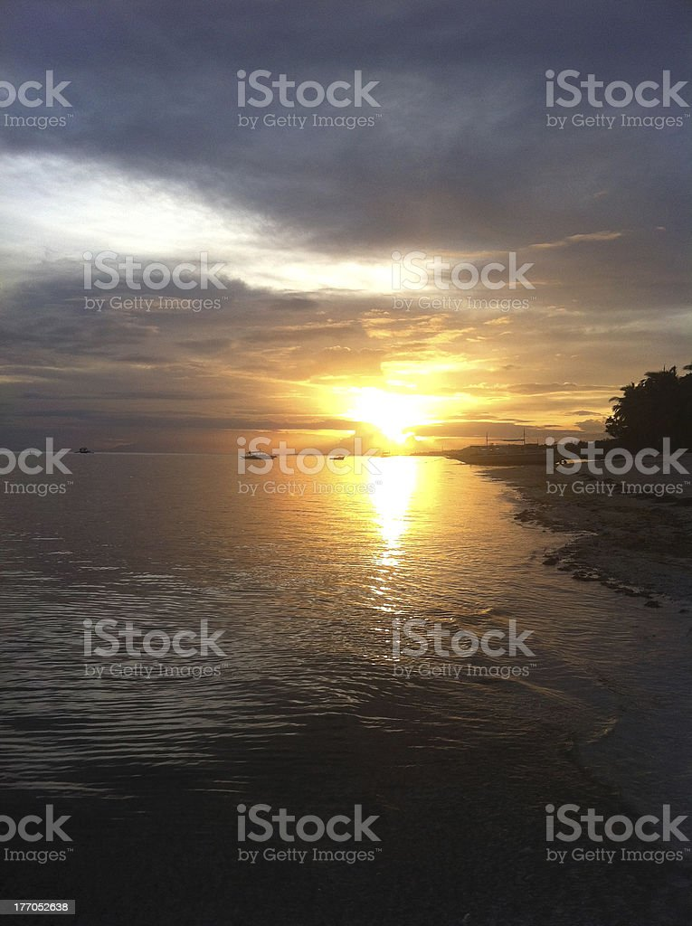 Sunset in Bohol Beach royalty-free stock photo